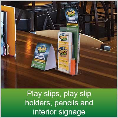 Play slips, play slip holders, pencils and interior signage